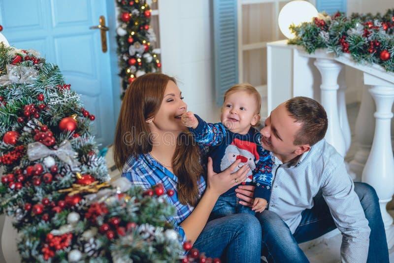 Η χαριτωμένη οικογένεια yang προετοιμάζεται για τα Χριστούγεννα στοκ εικόνα με δικαίωμα ελεύθερης χρήσης