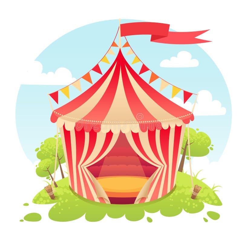 Η χαριτωμένη σκηνή κινούμενων σχεδίων παρουσιάζει τσίρκο διανυσματική απεικόνιση