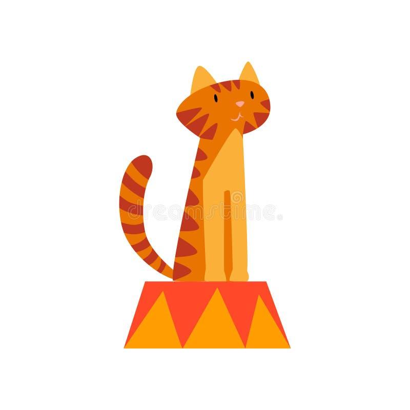 Η χαριτωμένη συνεδρίαση τιγρών στο βάθρο, ζώο που αποδίδει στο τσίρκο παρουσιάζει στα κινούμενα σχέδια διανυσματική απεικόνιση διανυσματική απεικόνιση