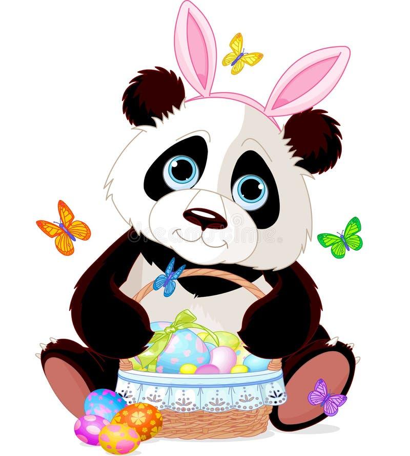 Η χαριτωμένη Panda με το καλάθι Πάσχας ελεύθερη απεικόνιση δικαιώματος