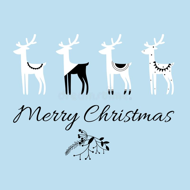 Η Χαρούμενα Χριστούγεννα αναφέρει, διανυσματικό κείμενο και Σκανδιναβικά ελάφια ` s ύφους για τις ευχετήριες κάρτες, τις τυπωμένε διανυσματική απεικόνιση