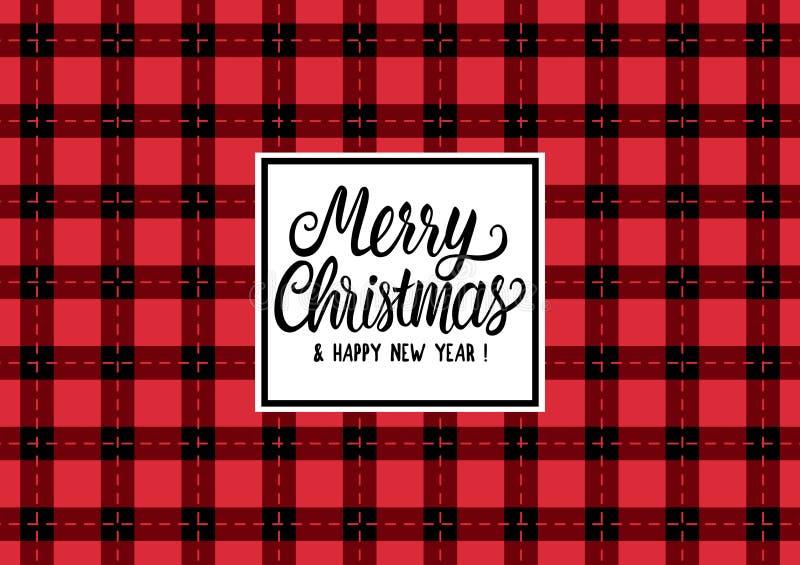 Η Χαρούμενα Χριστούγεννα δίνει τη συρμένη επιγραφή κειμένων εγγραφής Διανυσματικό ελεγμένο μαύρο και κόκκινο ευρύ υπόβαθρο απεικό απεικόνιση αποθεμάτων