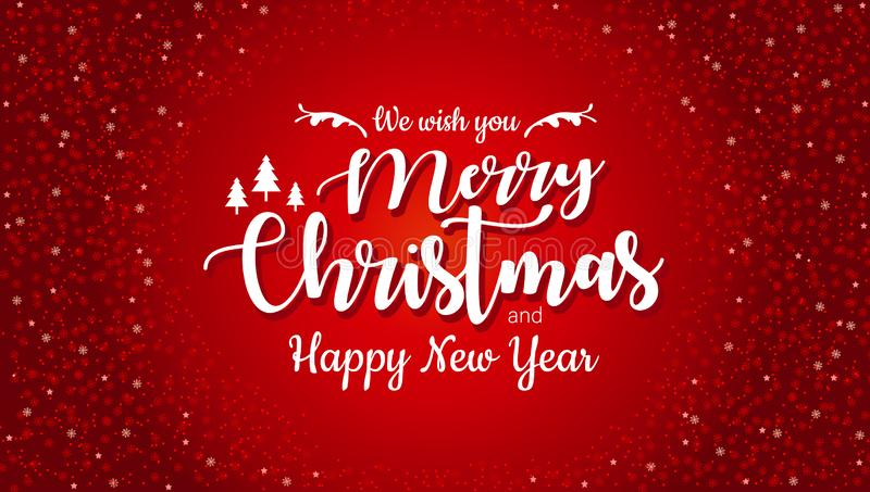 Η Χαρούμενα Χριστούγεννα και καλή χρονιά τυπογραφικές στο κόκκινο υπόβαθρο με ακτινοβολούν σύσταση Κάρτα Χριστουγέννων εορτασμού, απεικόνιση αποθεμάτων