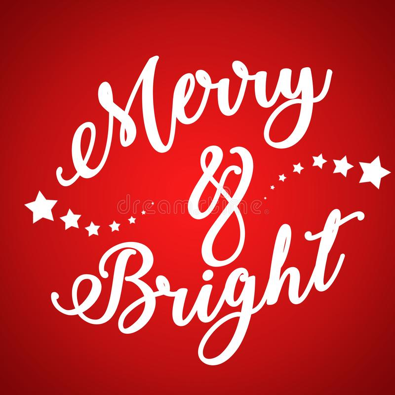 Η Χαρούμενα Χριστούγεννα και το κείμενο καλής χρονιάς στο κόκκινο η καλλιγραφική γράφοντας κάρτα σχεδίου υποβάθρου Δημιουργική τυ διανυσματική απεικόνιση