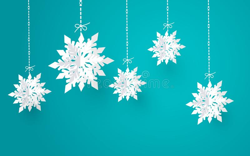 Η Χαρούμενα Χριστούγεννα και η χειμερινή εποχή με το έγγραφο κόβουν τη νιφάδα χιονιού, σχέδιο Χαρούμενα Χριστούγεννας, διανυσματι απεικόνιση αποθεμάτων
