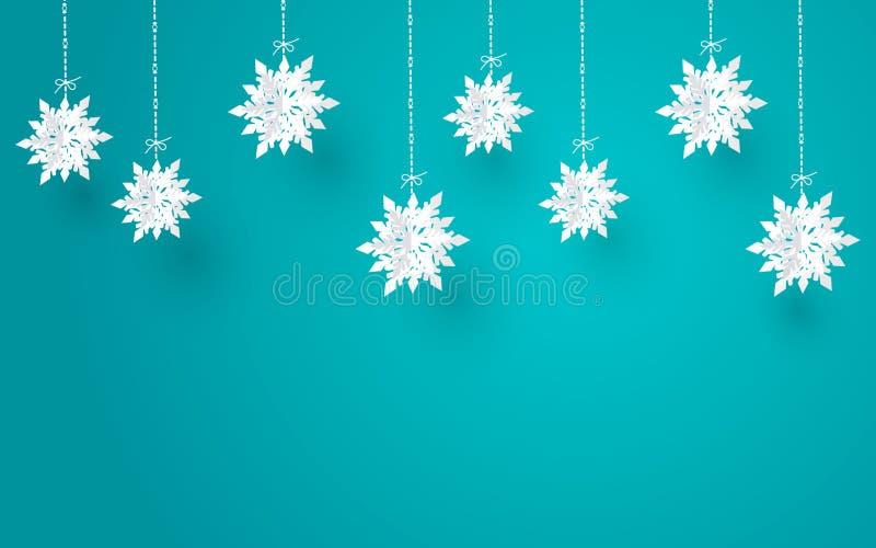 Η Χαρούμενα Χριστούγεννα και η χειμερινή εποχή με το έγγραφο κόβουν τη νιφάδα χιονιού, σχέδιο Χαρούμενα Χριστούγεννας, διανυσματι διανυσματική απεικόνιση