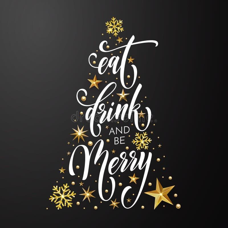 Η Χαρούμενα Χριστούγεννα τρώει ποτών αφισών ευχετήριων καρτών το διανυσματικό χρυσό υπόβαθρο έτους διακοσμήσεων νέο ελεύθερη απεικόνιση δικαιώματος