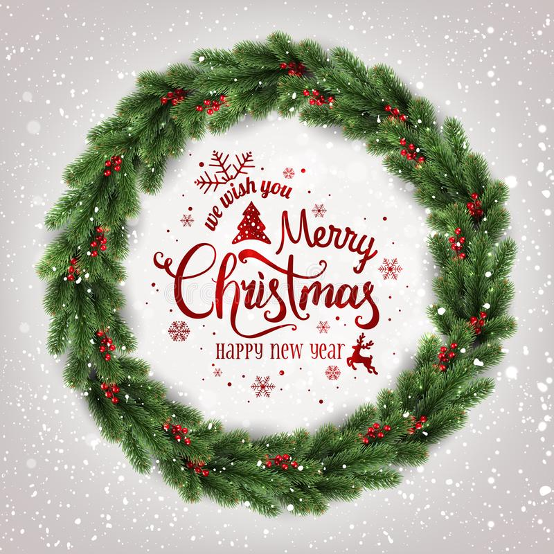 Η Χαρούμενα Χριστούγεννα τυπογραφική στο άσπρο υπόβαθρο με το στεφάνι Χριστουγέννων του δέντρου διακλαδίζεται, μούρα, φω'τα, snow ελεύθερη απεικόνιση δικαιώματος