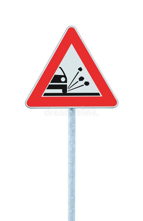 Η χαλαρή ώμων αμμοχάλικου σμιλεύσεων κινδύνου προειδοποίησης θέση Πολωνού συστημάτων σηματοδότησης κυκλοφορίας ακρών του δρόμου ο στοκ εικόνα με δικαίωμα ελεύθερης χρήσης