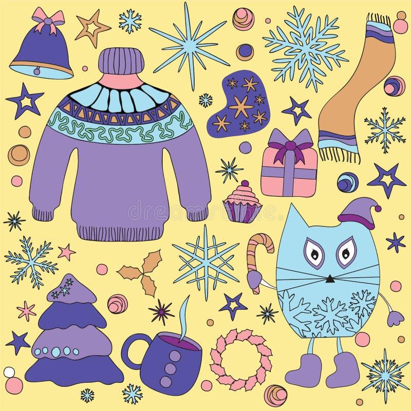 Η χειμερινή εποχή doodle έθεσε - snowflakes, δέντρο ατρόπων λείες αστέρι, swe ελεύθερη απεικόνιση δικαιώματος