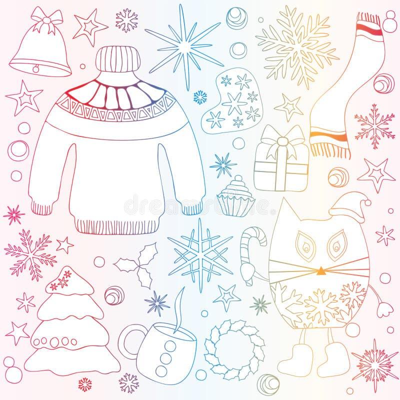 Η χειμερινή εποχή doodle έθεσε - snowflakes, δέντρο ατρόπων λείες αστέρι, swe διανυσματική απεικόνιση