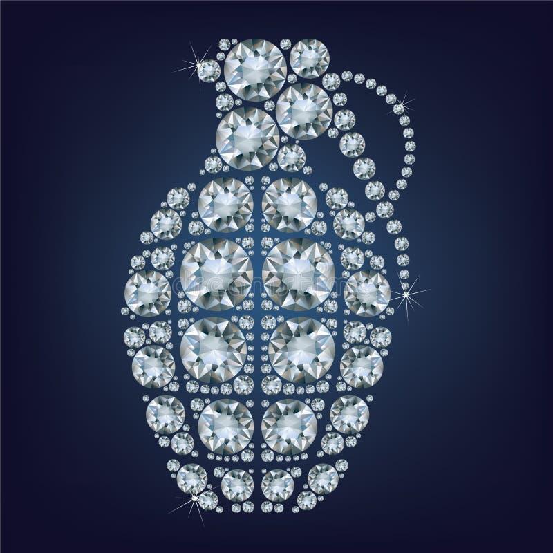 Η χειροβομβίδα αποτέλεσε πολλά διαμάντια ελεύθερη απεικόνιση δικαιώματος