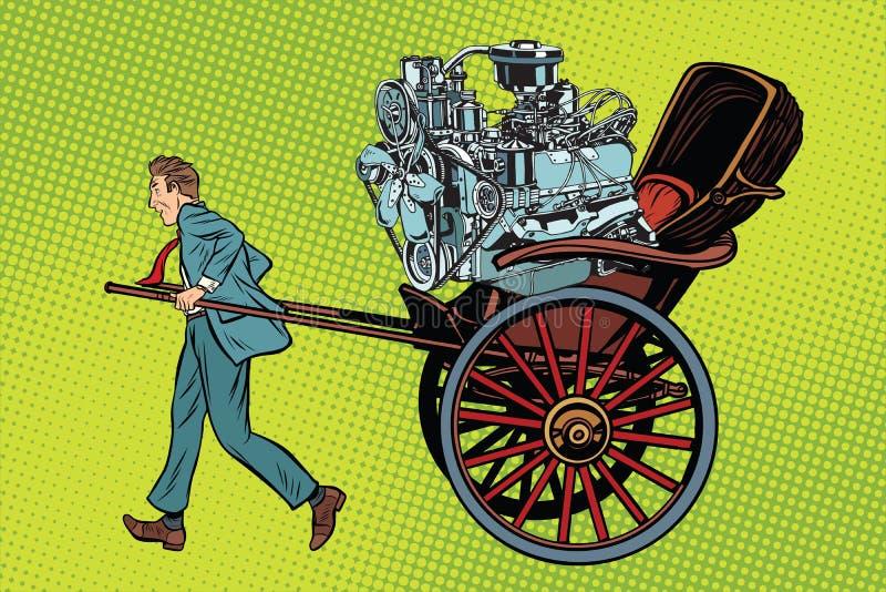 Η χειρωνακτική εργασία εναντίον μηχανικού, δίτροχος χειράμαξα φέρνει τη μηχανή απεικόνιση αποθεμάτων