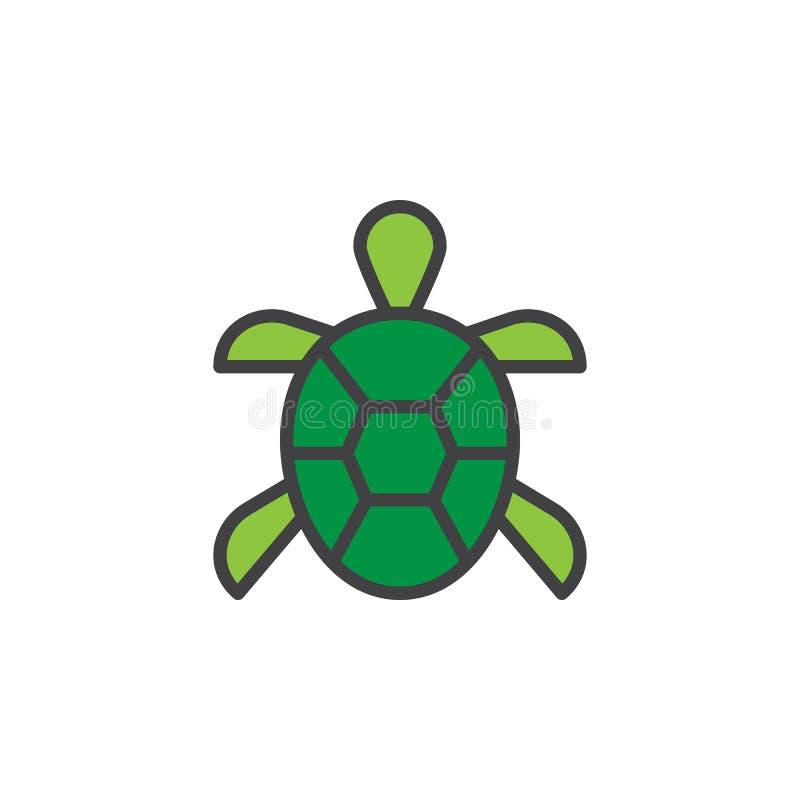 Η χελώνα γέμισε το εικονίδιο περιλήψεων διανυσματική απεικόνιση