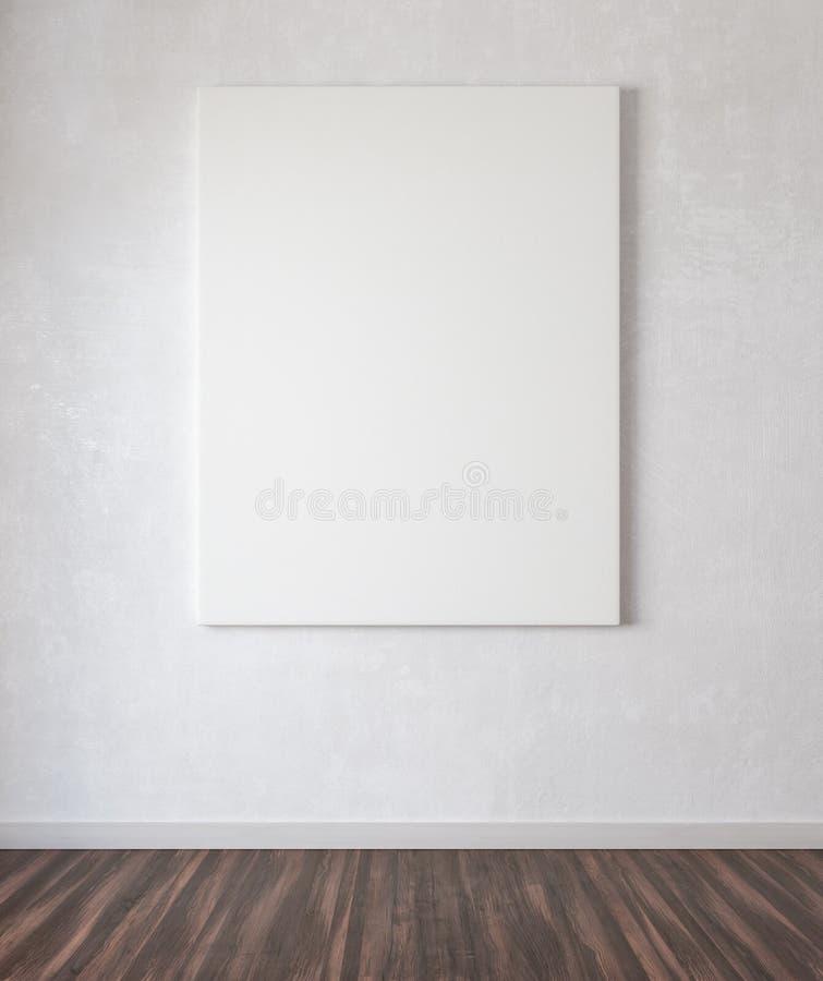 Η χλεύη επάνω στην αφίσα στο συμπαγή τοίχο τρισδιάστατο δίνει απεικόνιση αποθεμάτων