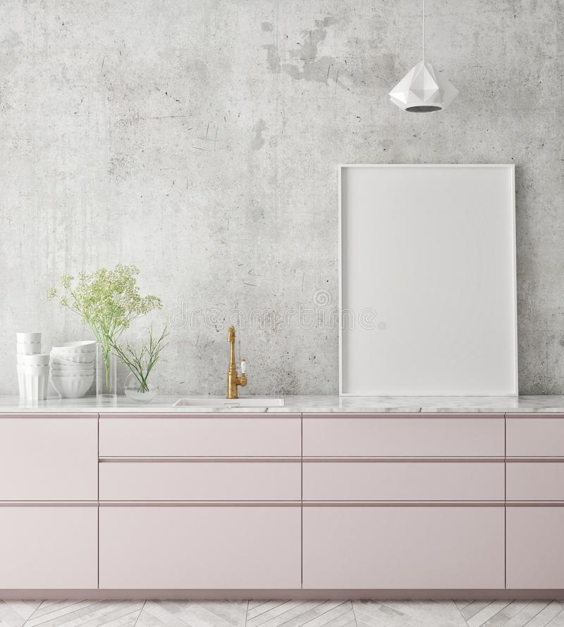 Η χλεύη επάνω στο πλαίσιο αφισών στο εσωτερικό υπόβαθρο κουζινών, Σκανδιναβικό ύφος, τρισδιάστατο δίνει στοκ εικόνες