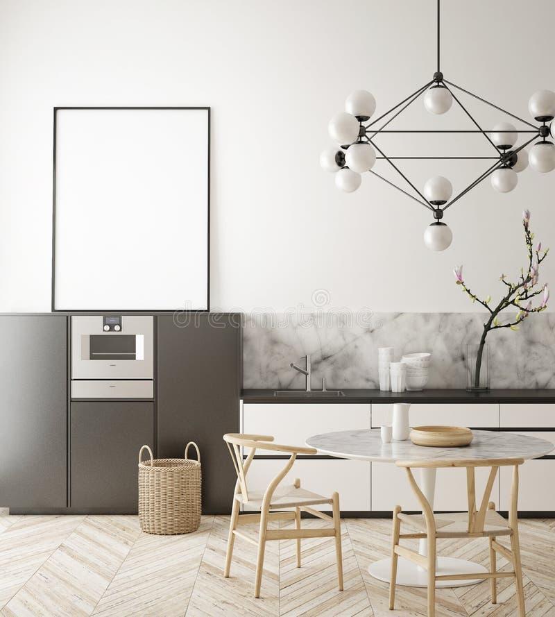 Η χλεύη επάνω στο πλαίσιο αφισών στο εσωτερικό υπόβαθρο κουζινών, Σκανδιναβικό ύφος, τρισδιάστατο δίνει στοκ εικόνα με δικαίωμα ελεύθερης χρήσης