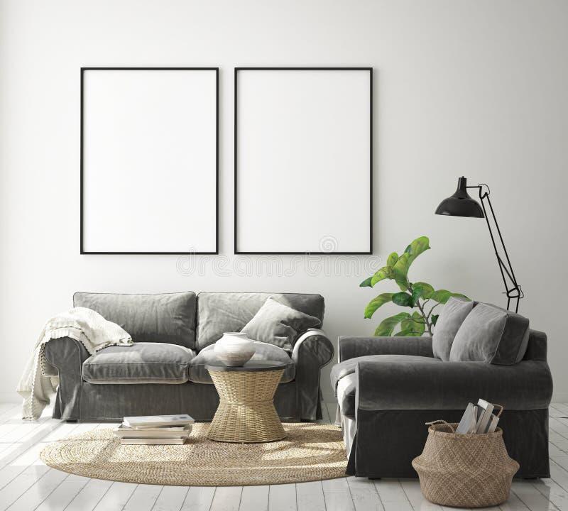 Η χλεύη επάνω στο πλαίσιο αφισών στο εσωτερικό υπόβαθρο hipster, καθιστικό, Σκανδιναβικό ύφος, τρισδιάστατο δίνει, τρισδιάστατη α απεικόνιση αποθεμάτων