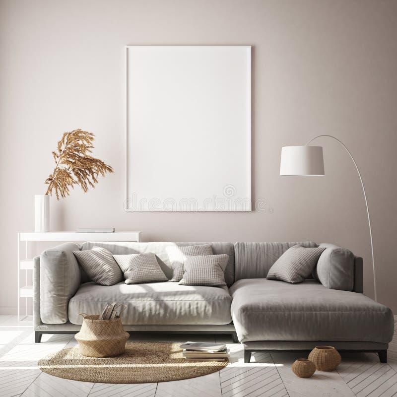 Η χλεύη επάνω στο πλαίσιο αφισών στο εσωτερικό υπόβαθρο hipster, καθιστικό, Σκανδιναβικό ύφος, τρισδιάστατο δίνει, τρισδιάστατη α διανυσματική απεικόνιση