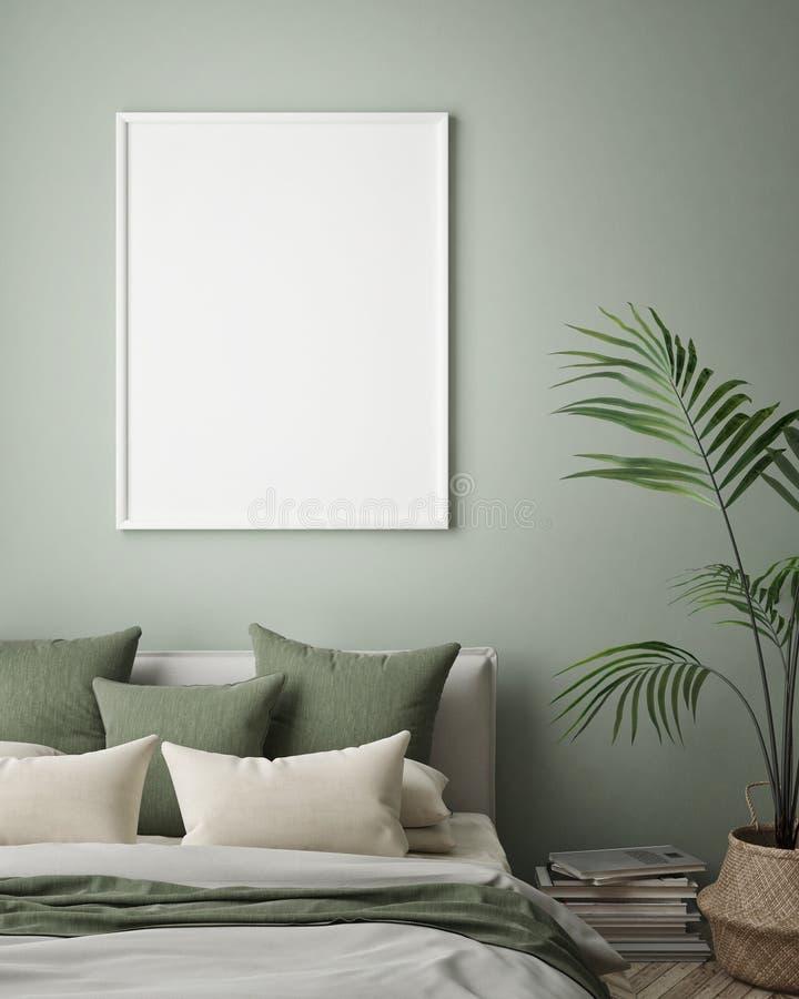 Η χλεύη επάνω στο πλαίσιο αφισών στο εσωτερικό υπόβαθρο hipster, κρεβατοκάμαρα, Σκανδιναβικό ύφος, τρισδιάστατο δίνει, τρισδιάστα απεικόνιση αποθεμάτων