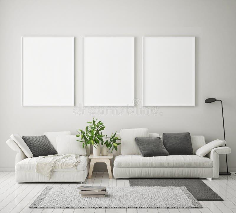 Η χλεύη επάνω στο πλαίσιο αφισών στο σύγχρονο εσωτερικό υπόβαθρο, καθιστικό, Σκανδιναβικό ύφος, τρισδιάστατο δίνει ελεύθερη απεικόνιση δικαιώματος