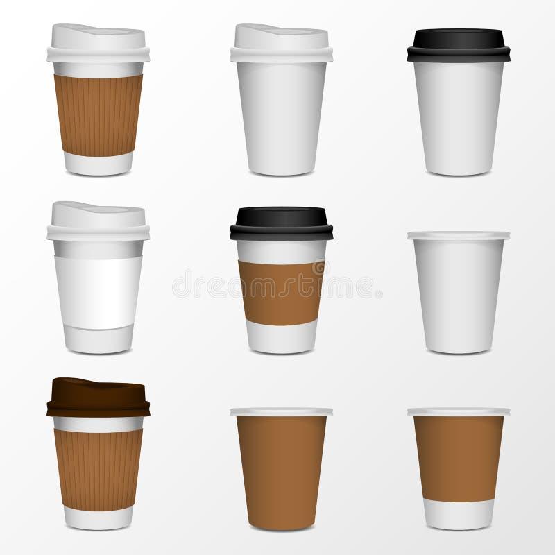 Η χλεύη προϊόντων φλυτζανιών καφέ επάνω, απομονώνει στο λευκό απεικόνιση αποθεμάτων