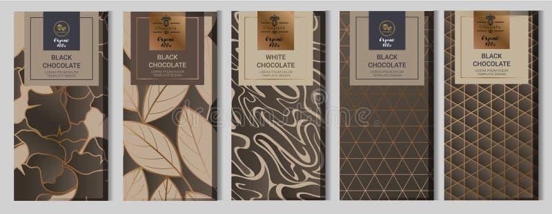 Η χλεύη συσκευασίας φραγμών σοκολάτας έθεσε επάνω στοιχεία, ετικέτες, εικονίδιο, πλαίσια διανυσματική απεικόνιση