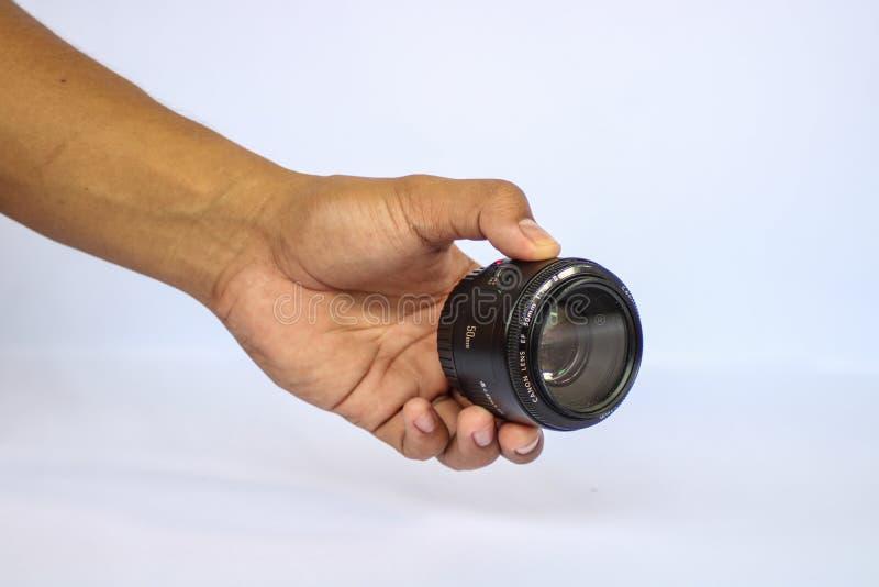 Η χρησιμοποιημένη Canon 50mm 1 πρωταρχικός φακός 8 STM στοκ εικόνες