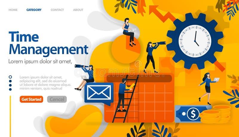 Η χρονική διαχείριση, σχεδιάζοντας, προγραμματίζοντας στην επιχείρηση και τα οικονομικά προγράμματα τη διανυσματική έννοια απεικό απεικόνιση αποθεμάτων