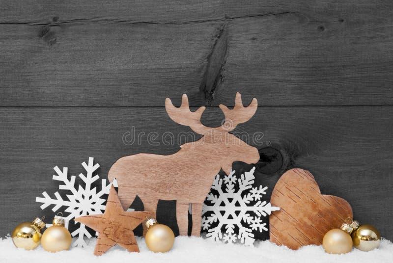 Η χρυσή γκρίζα διακόσμηση Χριστουγέννων, χιόνι, άλκες, ακούει, Snowflake στοκ φωτογραφία