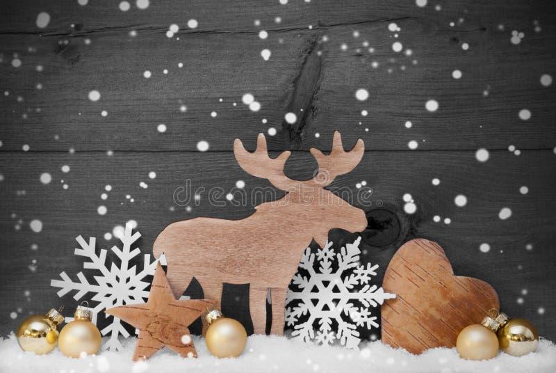 Η χρυσή γκρίζα διακόσμηση Χριστουγέννων, χιόνι, άλκες, ακούει, Snowflakes στοκ εικόνες με δικαίωμα ελεύθερης χρήσης