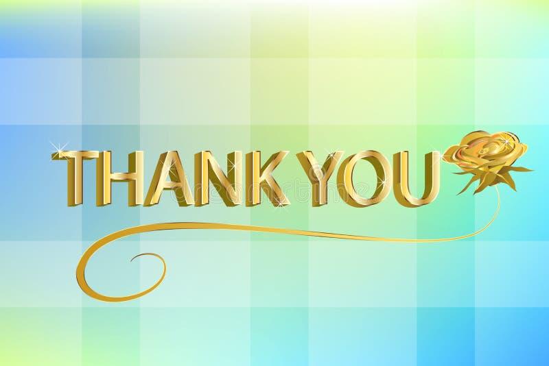 Η χρυσή επιστολή τρισδιάστατη σας ευχαριστεί με έναν όμορφο αυξήθηκε ευγνώμων κάρτα απεικόνιση αποθεμάτων