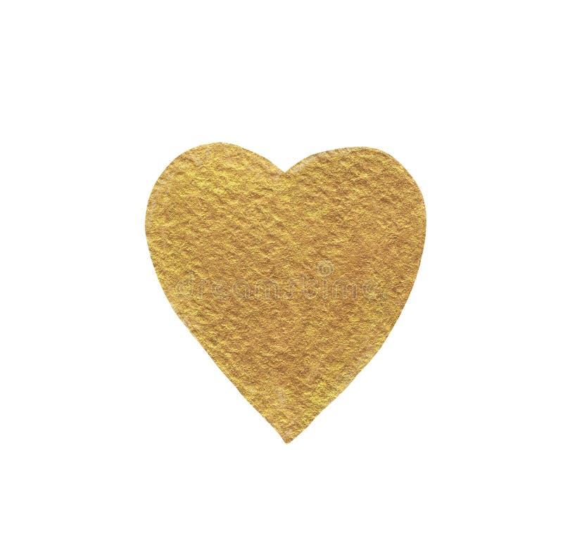 Η χρυσή καρδιά που χρωματίζεται με το ακρυλικό χρώμα, έχει μια ενδιαφέρουσα σύσταση στοκ φωτογραφίες με δικαίωμα ελεύθερης χρήσης