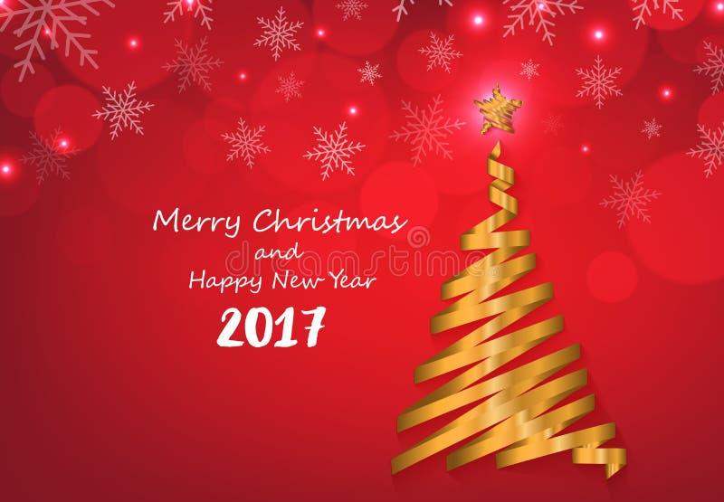 Η χρυσή κορδέλλα κάνει τη μορφή χριστουγεννιάτικων δέντρων κόκκινα snowflakes διανυσματική απεικόνιση