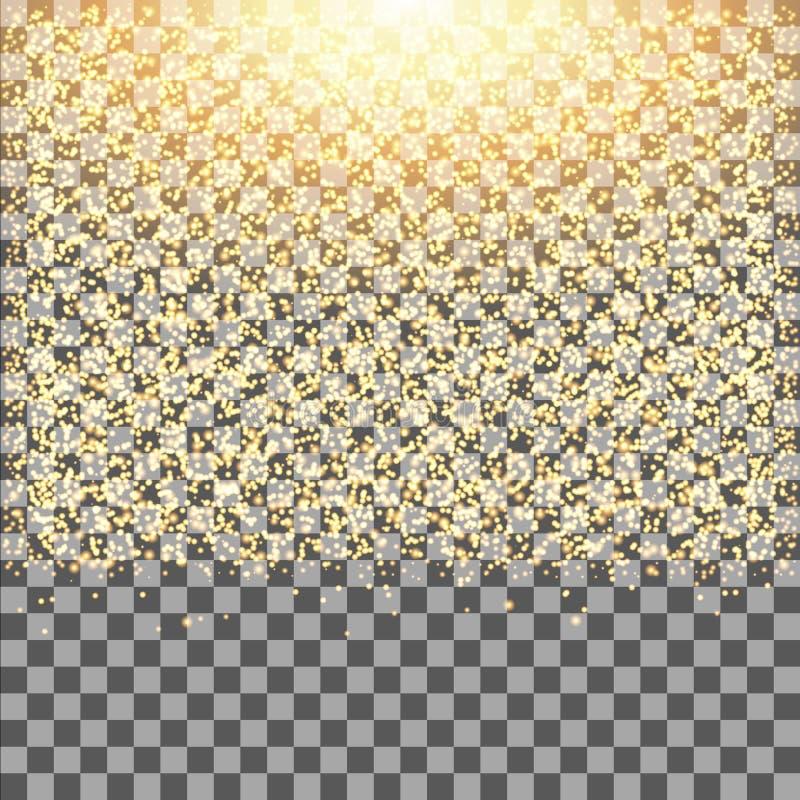 Η χρυσή πυράκτωση ακτινοβολεί σπινθηρίσματα στο διαφανές υπόβαθρο Μειωμένη σκόνη διανυσματική απεικόνιση