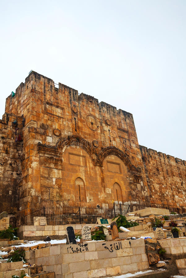 Η χρυσή πύλη στην Ιερουσαλήμ, Ισραήλ στοκ φωτογραφία
