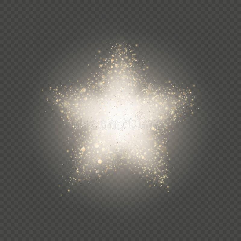 Η χρυσή σκόνη αστεριών ακτινοβολεί έκρηξη του κομφετί με να αναβοσβήσει τα μαλακά μόρια 10 eps ελεύθερη απεικόνιση δικαιώματος