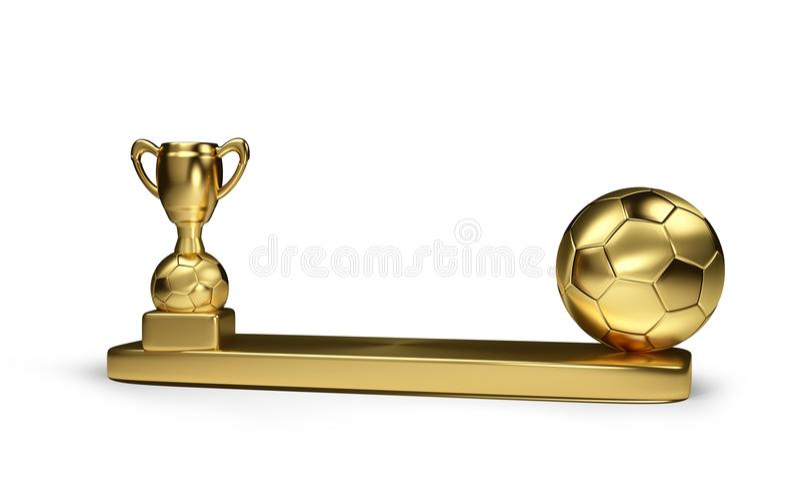 Η χρυσή σφαίρα ποδοσφαίρου και η χρυσή απόδοση τροπαίων ποδοσφαίρου τρισδιάστατη απομονώνουν ελεύθερη απεικόνιση δικαιώματος