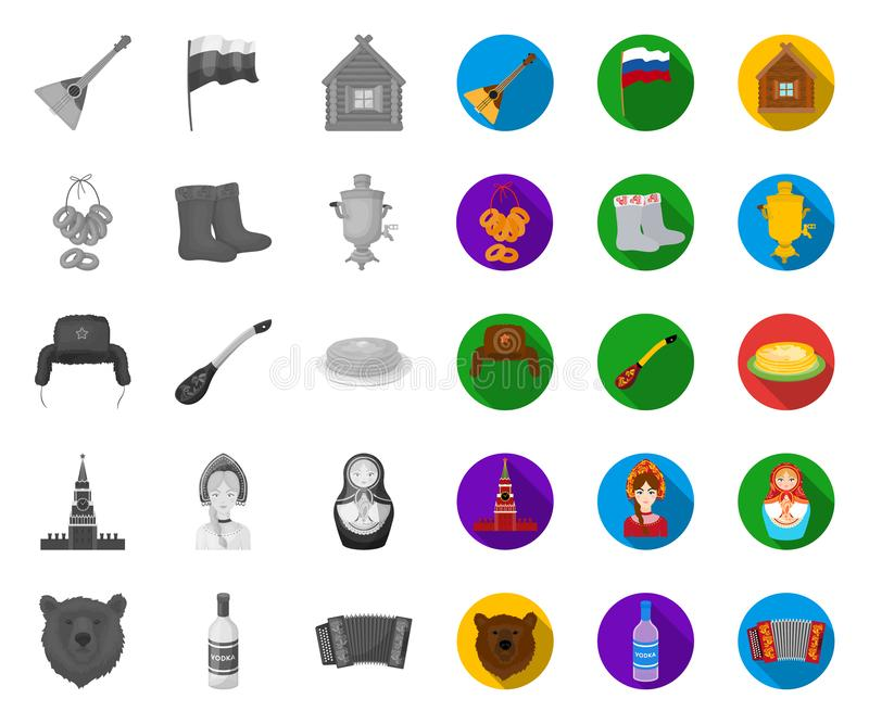 Η χώρα Ρωσία, ταξιδεύει τα μονο, επίπεδα εικονίδια στην καθορισμένη συλλογή για το σχέδιο Διανυσματικός Ιστός αποθεμάτων συμβόλων απεικόνιση αποθεμάτων