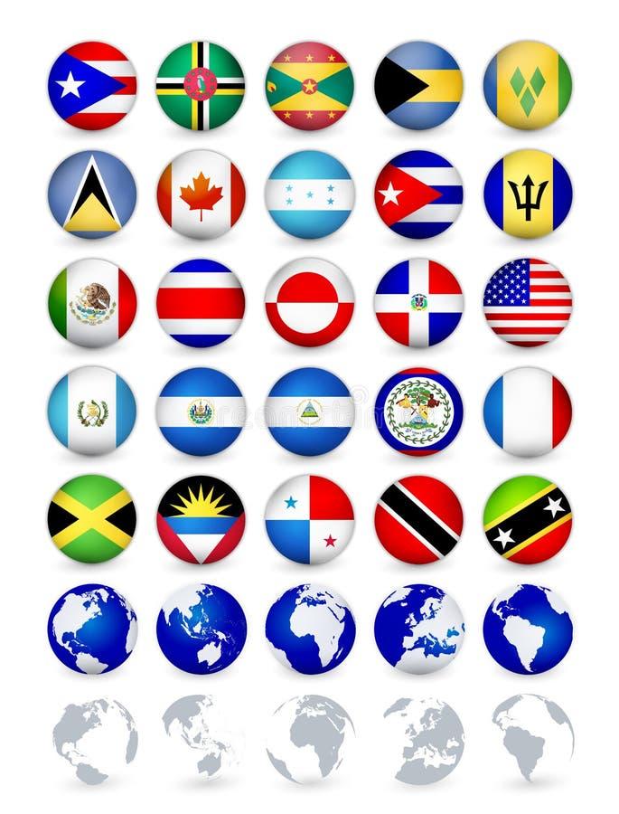 Η χώρα της Αμερικής σημαιοστολίζει τα κουμπιά Ιστού με τις σφαίρες διανυσματική απεικόνιση