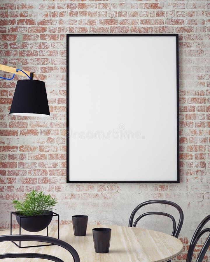 Η χλεύη επάνω στις αφίσες με το αναδρομικό εσωτερικό υπόβαθρο εστιατορίων καφέδων hipster, τρισδιάστατο δίνει, απεικόνιση αποθεμάτων