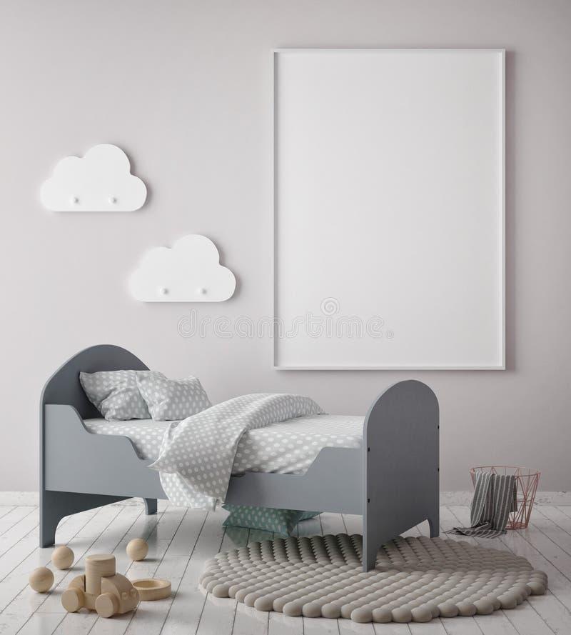 Η χλεύη επάνω στο πλαίσιο αφισών στην κρεβατοκάμαρα παιδιών, Σκανδιναβικό εσωτερικό υπόβαθρο ύφους, τρισδιάστατο δίνει, απεικόνιση αποθεμάτων
