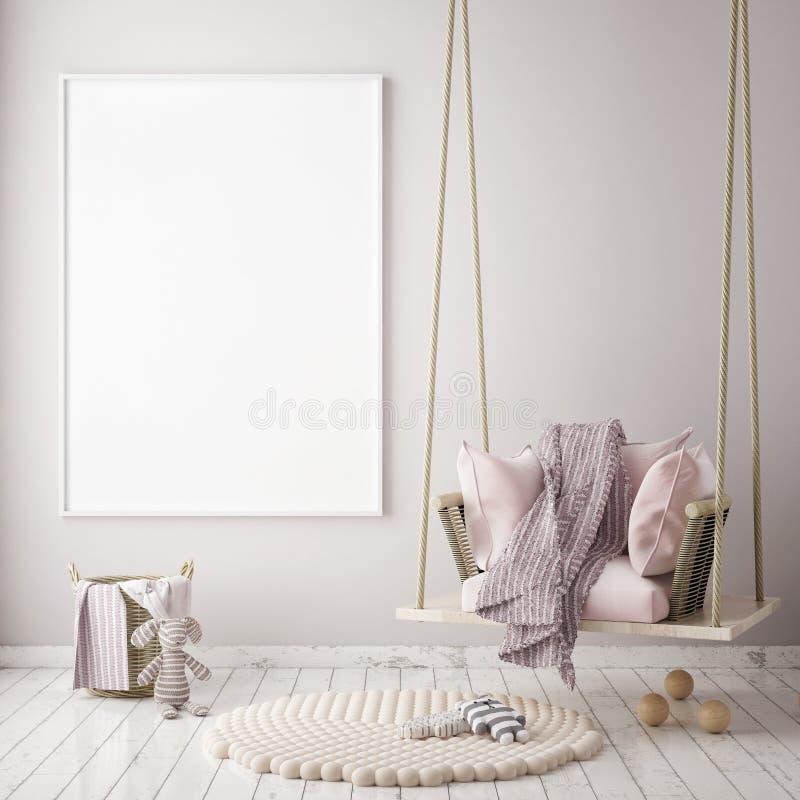 Η χλεύη επάνω στο πλαίσιο αφισών στην κρεβατοκάμαρα παιδιών, Σκανδιναβικό εσωτερικό υπόβαθρο ύφους, τρισδιάστατο δίνει ελεύθερη απεικόνιση δικαιώματος