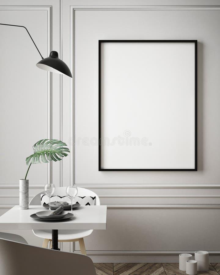 Η χλεύη επάνω στο πλαίσιο αφισών στο εσωτερικό υπόβαθρο hipster, Σκανδιναβικό ύφος, τρισδιάστατο δίνει απεικόνιση αποθεμάτων