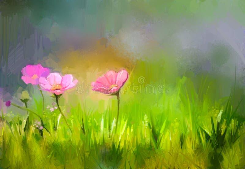 Η χλόη φύσης ελαιογραφίας ανθίζει το ρόδινο λουλούδι κόσμου απεικόνιση αποθεμάτων