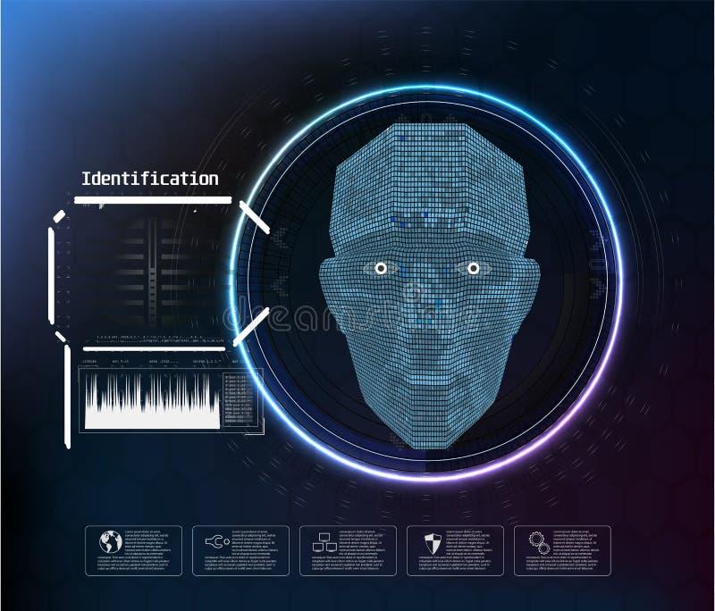 Η ψηφιακή αναγνώριση προσώπου, ταυτότητα αντιμετωπίζει τη βιομετρική ανίχνευση στο ασφαλές αφηρημένο διανυσματικό φουτουριστικό υ διανυσματική απεικόνιση
