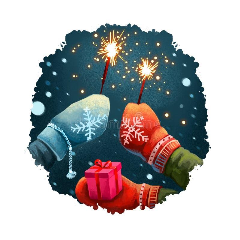 Η ψηφιακή απεικόνιση τέχνης παραδίδει τα γάντια κρατώντας τα sparklers, κιβώτιο δώρων παρόν Χαρούμενα Χριστούγεννα, ευχετήρια κάρ στοκ εικόνα
