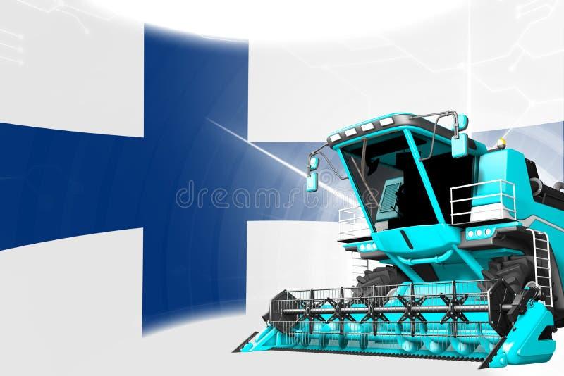 Η ψηφιακή βιομηχανική τρισδιάστατη απεικόνιση της μπλε προηγμένης σίκαλης συνδυάζει τη θεριστική μηχανή στη σημαία της Φινλανδίας απεικόνιση αποθεμάτων