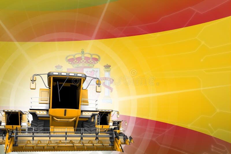 Η ψηφιακή βιομηχανική τρισδιάστατη απεικόνιση του κίτρινου σύγχρονου σιταριού συνδυάζει τις θεριστικές μηχανές στη σημαία της Ισπ διανυσματική απεικόνιση