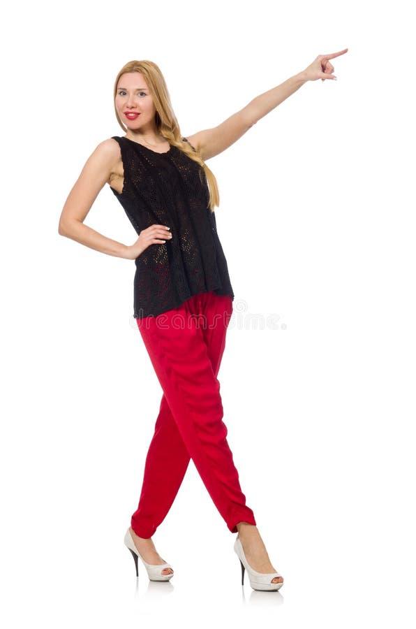 Η ψηλή νέα γυναίκα εσώρουχα που απομονώνεται στα κόκκινα στο λευκό στοκ εικόνες με δικαίωμα ελεύθερης χρήσης